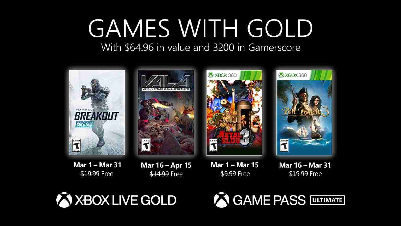 Xbox Games With Gold March